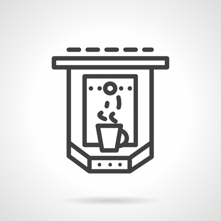 black appliances: Abstract black simple line style vector icon for espresso maker with steamed cup. Coffee machines. appliances for cafe, cafeteria. Single web design element for site or mobile app.