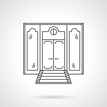 shop show window: Wall with classic glass doors for restaurant, hotel or store. Thin flat line style vector icon. Single web design element for site or mobile app.