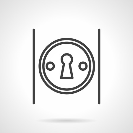 door knob: Classic keyhole in round frame on door knob. Security, access, password symbol. Black simple line style vector icon. Single web design element for site or mobile app.