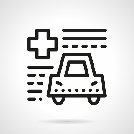 simple life: Abstract paper form with cross and car. Driver life safety, auto insurance. Black simple line style vector icon. Single web design element for site or mobile app.
