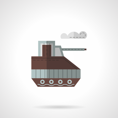 controlled: Brown unmanned toy tank. Radio controlled vehicles. Flat color style vector icon. Single web design element for site or mobile app.