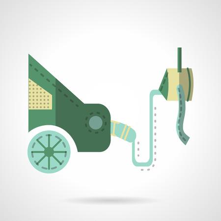monoxide: Car service center, equipment for car emission test. Green color flat vector icon. Ecology transport. Single web design element for site or mobile app.