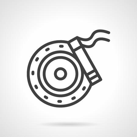 car brake: Car brake disc and brake shoe. Spare parts for automobile. Black simple line style vector icon. Single web design element for site or mobile app. Illustration