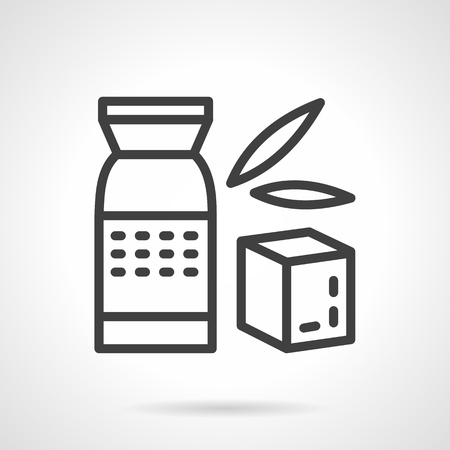 breakfast cereal: Pack with whole grain, wheat breakfast cereal. Organic food, healthy and diet. Black simple line style vector icon. Single web design element for site or mobile app.