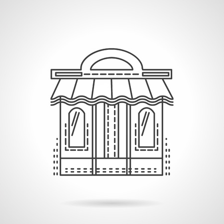 Storefront of book shop. Facade with window and awning. Flat line style vector icon. Web design element for site or mobile application.