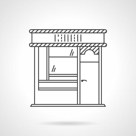 escaparates de tiendas: Fachada de la panader�a. Arquitectura comercial. Escaparates y escaparate. Plano de iconos de vectores estilo de l�nea. Elemento de dise�o web para el sitio o aplicaci�n m�vil. Vectores