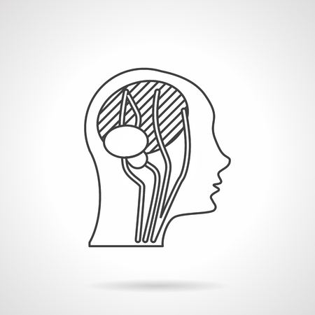 neurologist: Abstract human head a side view with imaging brain and neck blood vessels. Flat line style vector icon. Web design element for site or mobile application.
