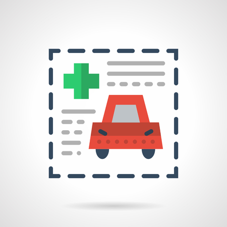 misfortune: Insurance paper form with green cross and red car. Medical insurance for driver. Flat color style vector icon. Web design element for site or mobile application.