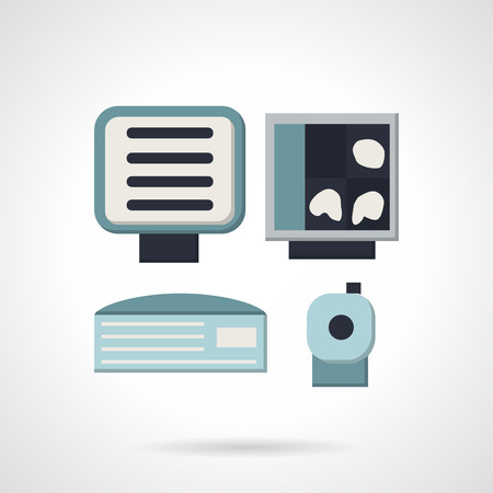 xray machine: Medical ultrasound diagnostic equipment. Computer, monitor, scanner. Blue flat style vector icon. Web design element for site or mobile application.
