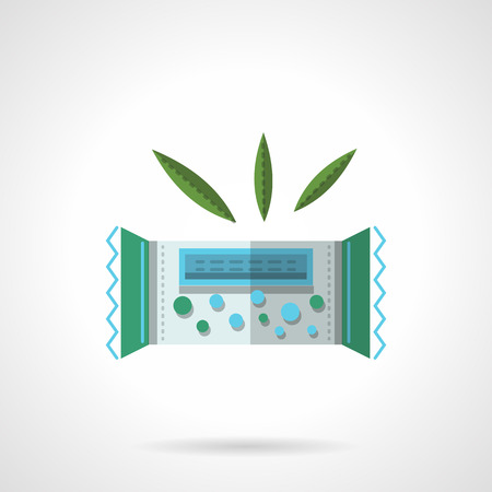 barra de cereal: Barra de cereales en el paquete verde. Postres org�nicos y vegetarianos. Plano de iconos de vectores estilo de color. Elemento de dise�o web para el sitio o aplicaci�n m�vil.