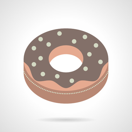 застекленный: Round donut glazed with chocolate. Bakery and desserts. Flat color style vector icon. Web design element for site or mobile application.
