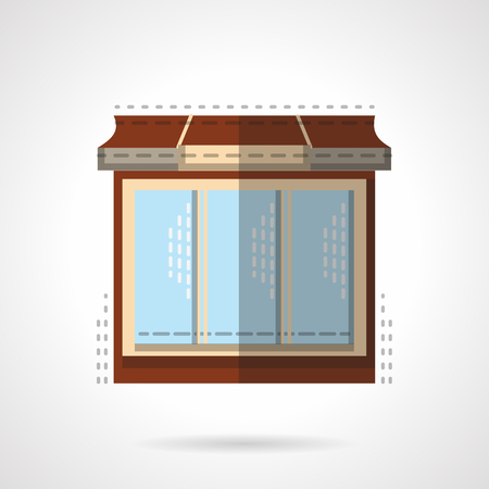 comercial: Stylish store front with large window. Comercial architecture. Flat color vector icon. Web design element for site or mobile application.