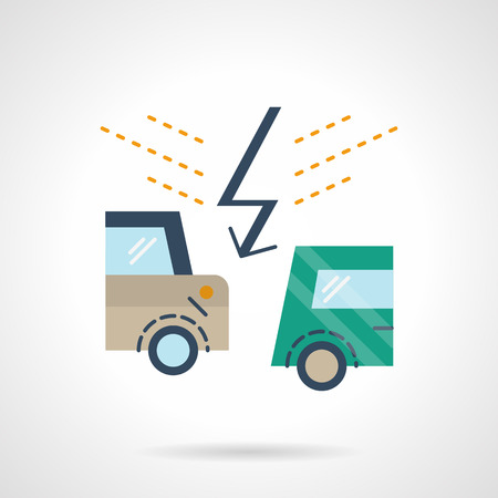 Accident with two cars and lightning symbol. Auto insurance cases for claims. Flat color style vector icon. Web design element for site or mobile application.