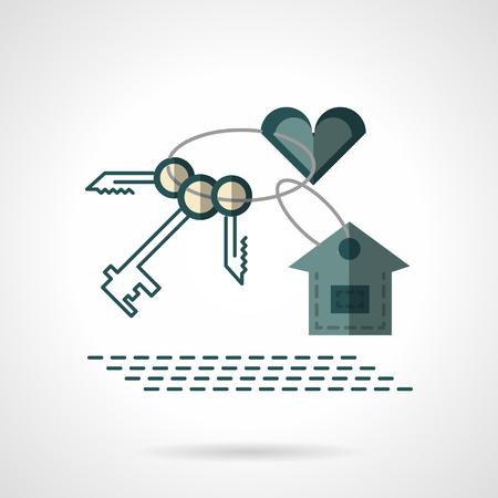 keychain: House keychain with heart Illustration