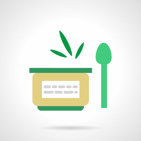 ready cooked: Flat green style jar with label and spoon