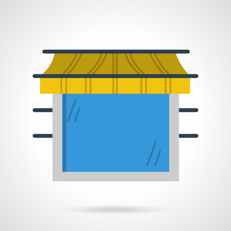 an awning: Large blue window with yellow awning
