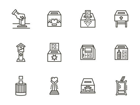 altruism: Donation objects, box for charity. Black simple line style vector icons set. Volunteer organization symbols. Elements of web design for business and site.