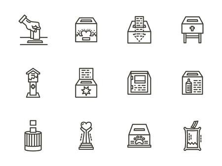 altruism: Objetos de donación, caja para la caridad. Negros simples vectores iconos de estilo de línea establecidas. Símbolos organización de voluntarios. Elementos de diseño de páginas web para los negocios y el hotel.