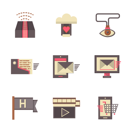 emarketing: Online support symbols, e-marketing, help button, mobile app, search solutions. Set of flat color vector icons. Elements of web design for business and site.