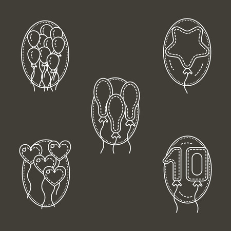 event party festive: Different shapes balloons. Decor for party, celebration, festive event and other. Set of flat white line vector icons on black background. Elements of web design for business and site.