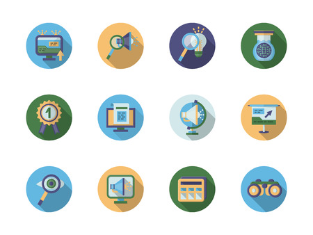icons site search: Seo search optimization buttons, search solutions, high quality service. Set of round colored flat vector icons. Elements of web design for business and site. Illustration