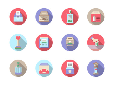 fundraiser: Donations and fundraiser objects. Boxes and containers for charity. Set of round flat color vector icons. Elements of web design for business and website.