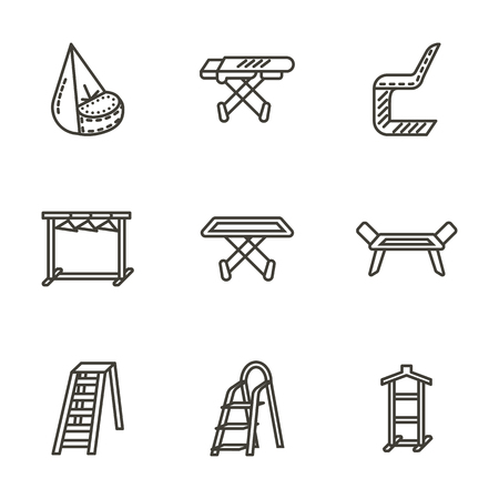 laundry line: Set of furniture for laundry. Dryer, hangers rack, ledder. Collection of black line icons. Elements of web design for business and website.