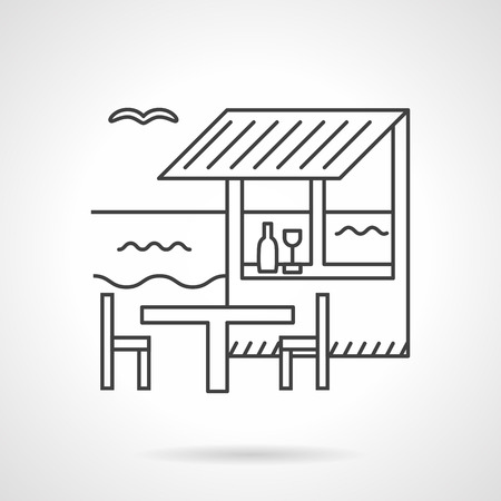 coastline: Coastline bungalow, beach bar or restaurant with outdoors table and chairs. Tropical architecture. Flat line style vector icon. Single web design elements for business, app, website.
