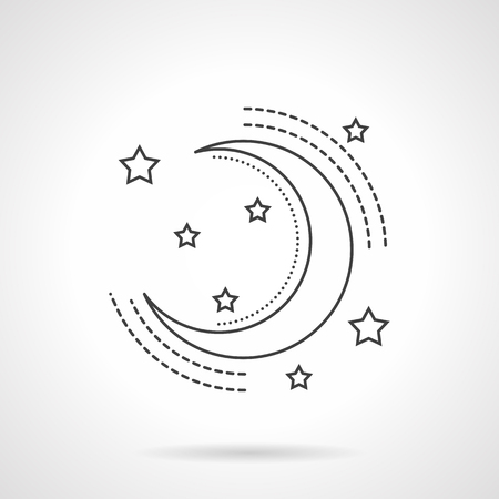 waxing: Symbol of waxing crescent and many stars. Astronomy and astrology sign. Flat line style vector icon. Single web design elements for business, app, website. Illustration