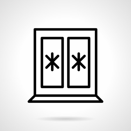 freeze: Freeze window. Snowflakes decoration, Christmas and winter holidays symbol. Black simple line style vector icon. Single web design elements for business, app, website.