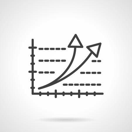 crecimiento: El crecimiento del negocio, calificación, símbolo de éxito. Gráfico de la carta con dos flechas apuntando hacia arriba. Negro sencillo icono de vectores estilo de línea. Elementos de diseño web individuales para los negocios, aplicación, sitio web.