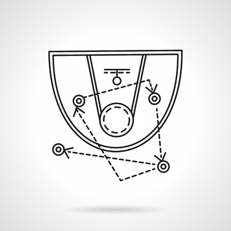 black board: Basketball strategy board with game tactic. Flat line style vector icon. Sport symbols and equipment. Single web design elements for business, app, website. Illustration