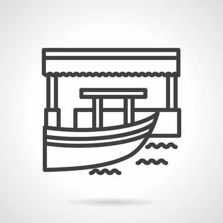 floating market: Floating market or bar with part of boat. Exotic trade and services. Black simple line style vector icon. Single web design elements for business, app, website. Illustration