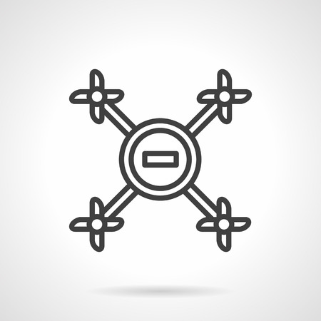 unmanned: A top view of unmanned aerial vehicle. Remote control drone. Black simple line vector icon. Single web design elements for business, app, website. Illustration