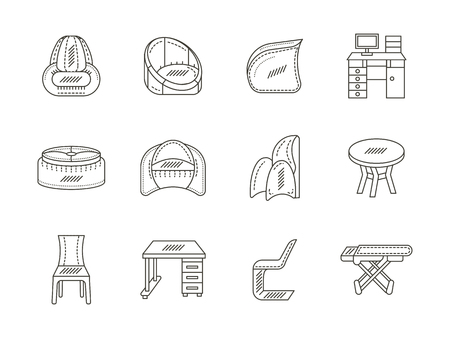 living room design: Soft furniture, chairs for living room, kitchen, office, work desk. Collection of flat line style vector icons on white background. Elements of web design for business and website.