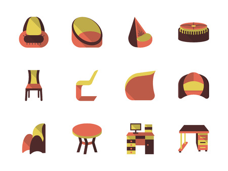 comfortable: Comfortable furniture for modern interior. Furniture store. Set of colored flat vector icons. Elements of web design for business and website.