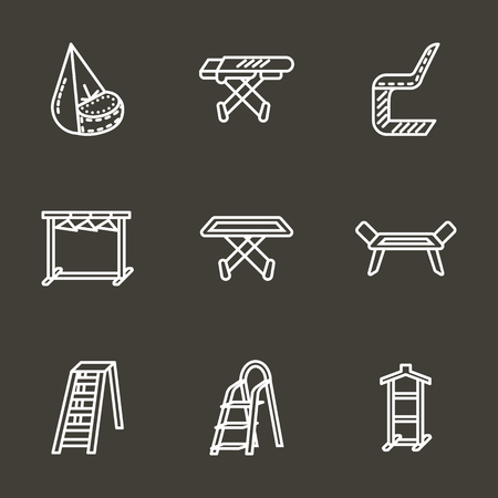 laundry line: Items and furniture for laundry. Clothes rack, ironing board, workspace table, dryer. Set of simple style white line vector icons on black background. Elements of web design for business and website. Illustration