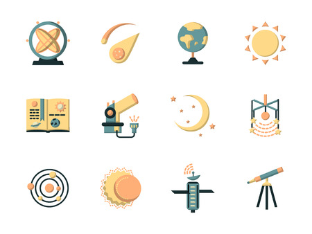 astronautics: Astronautics and space flat color style vector icons set. Science and education symbols. Elements of web design for site or mobile app. Illustration