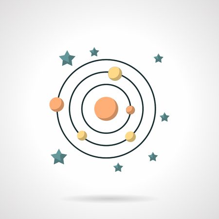 icon buttons: Abstract symbol of solar system with planet orbits and stars. Astronomy and astrology. Flat color style vector icon. Buttons and design elements for website, mobile app, business.