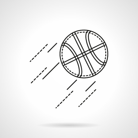 icon buttons: Basketball ball in flight. Team sport symbols. Flat line style vector icon. Buttons and design elements for website, mobile app, business.