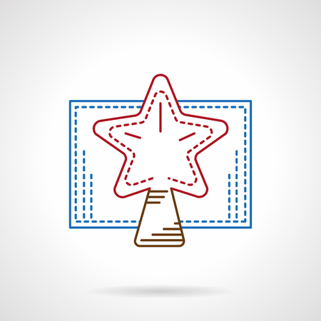 tip style design: Christmas decoration. Tip star for fir-tree. Flat color line style vector icon. Buttons and design elements for website, mobile app, business.