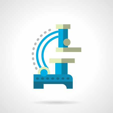 micro: Equipment for discovery and research of micro objects. Blue microscope a side view. Flat color style vector icon. Buttons and design elements for website, mobile app, business.
