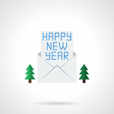firtrees: Christmas envelope with Happy New Year letter and two fir-trees. Greeting card flat color vector icon. Buttons and design elements for website, mobile app, business. Illustration
