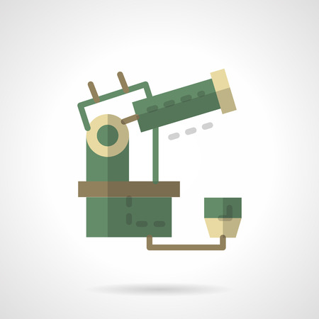 refracting: Space research equipment. Telescope for observatory and university. Flat color style vector icon. Buttons and design elements for website, mobile app, business. Illustration