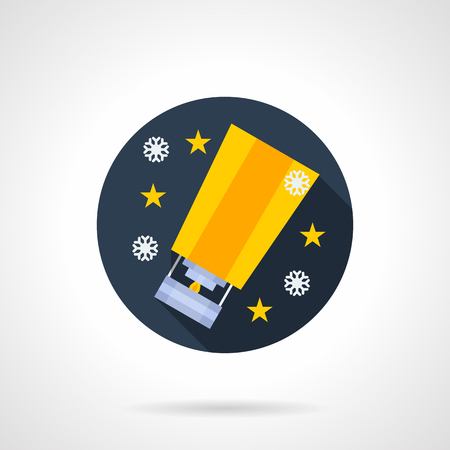 sky lantern: Round blue flat vector icon for yellow paper sky lantern. Tradition celebration symbols. Buttons and design elements for website, mobile app, business.