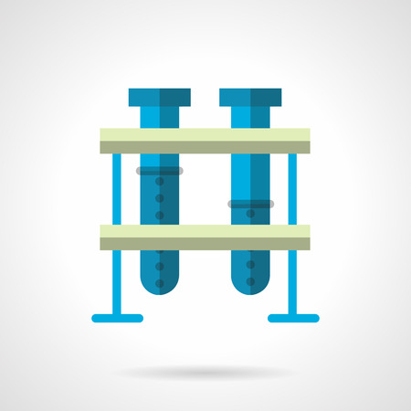 equipment experiment: Two blue test-tubes on a rack. Laboratory experiment, analisis, chemical and biology equipment. Flat color style vector icon. Buttons and design elements for website, mobile app, business.