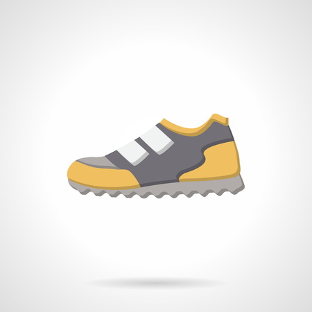 foot wear: Sport foot wear. Single sneaker in gray and yellow design. Flat color style vector icon. Buttons and design elements for website, mobile app, business.