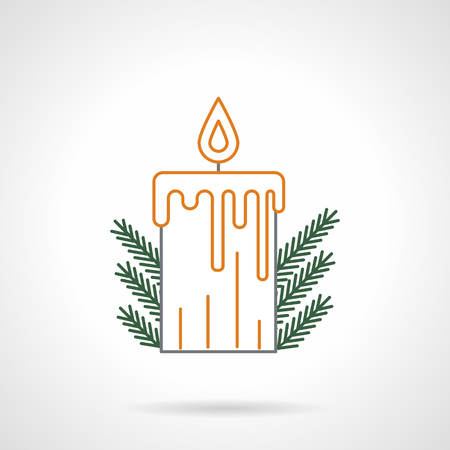 icon buttons: Yellow flat line style xmas candle with flame and green fir branches decor. Flat line vector icon. Buttons and design elements for website, mobile app, business.