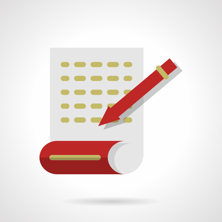 articles: Page with abstract writing text with red pen. Journalism, writing articles. Flat color style vector icon. Buttons and design elements for website, mobile app, business.