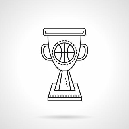icon buttons: Copa Ganador con pelota de baloncesto. Competici�n por equipos del deporte, campeonato, el �xito. Plano de iconos de vectores estilo de l�nea. Botones y elementos de dise�o para el sitio web, aplicaci�n m�vil, negocio.